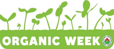 Canada Organic Week Banner with green sprouts and the Organic Canada logo