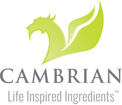"Green Cambrian Dragon logo and the company name ""Cambrian"" underneath. Below this, the new tagline ""Life Inspired Ingredients""."