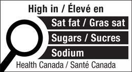 Label with round magnifying glass indicating that a product is high in saturated fats, sugars, and sodium