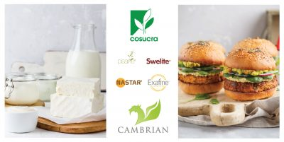 Image of Dairy and Vegan Burgers featuring Cosucra's logo, Cambrian's logo, and the logos for Pisane, Swelite, Nastar, and Exafine