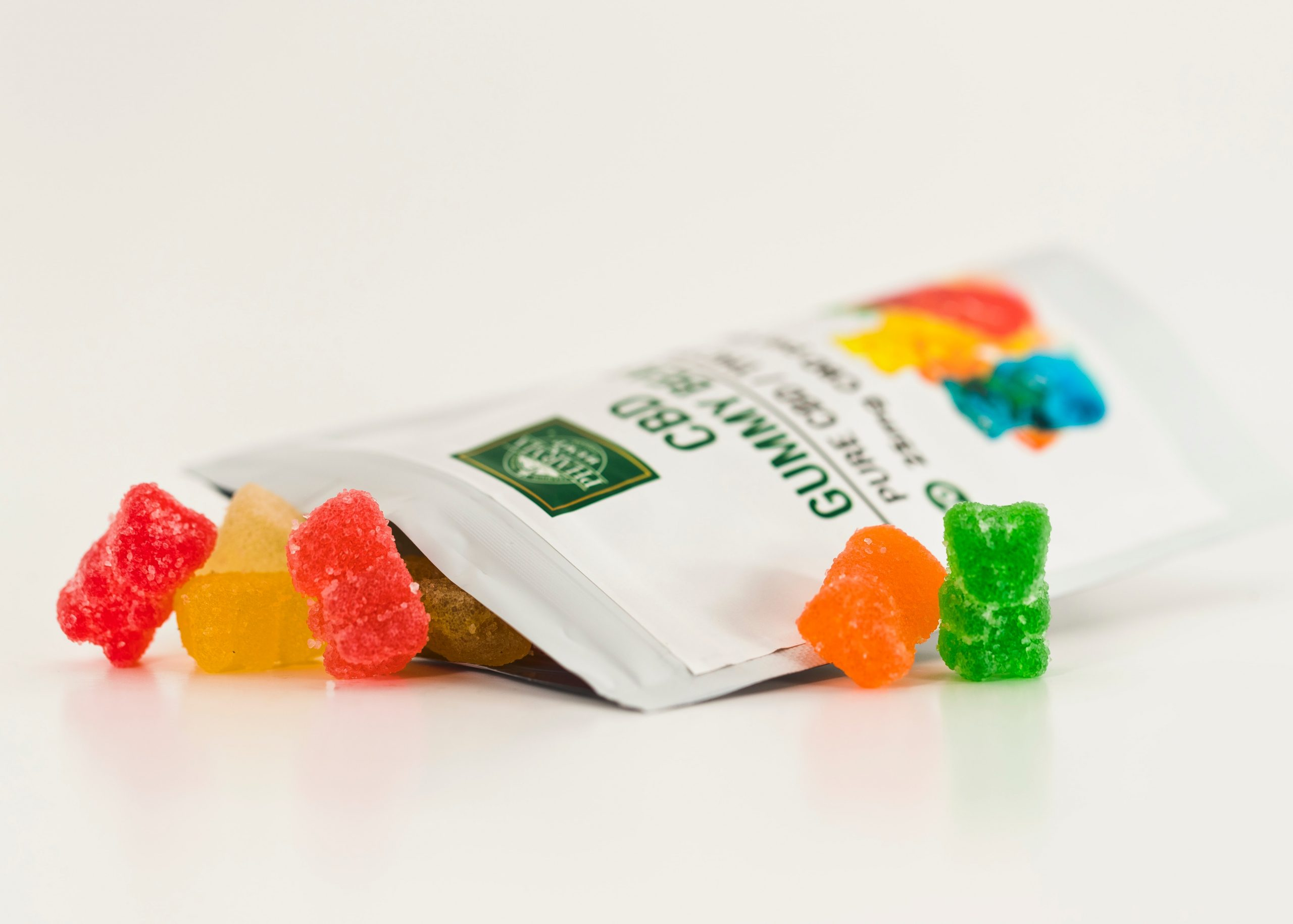"gummy bears surrounding a package which says ""CBD"" on it"